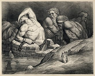 Aloadae - Titans and giants, including Ephialtes on the left, in Gustave Doré's illustrations to Dante's Divine Comedy.