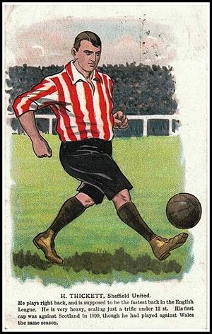 1898 Sheriff of London Charity Shield - Cigarette card depicting Harry Thickett playing for Sheffield United, he played as a back in the 1898 Shield final