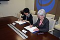 HHS Secretary Sebelius and WHO Director-General Margaret Chan join together to sign a Memorandum of Understanding between the U.S. Government and the World Health Organization.jpg