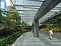 HK Admiralty Tamar Park glass covered footbridge walkway visitor Sept-2012.JPG