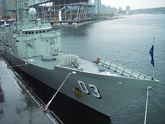 HMAS Sydney (FFG 03) - Sydney in Vancouver, Canada, in 2007. The 8-cell Mark 41 Vertical Launch System installed during the FFG Upgrade can be seen forward of the Mark 13 armature missile launcher.