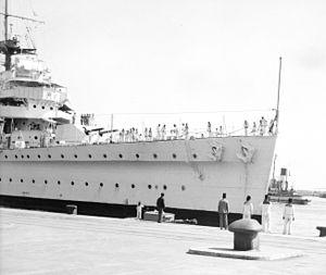 HMS Enterprise (D52) - 1936 photo showing the experimental twin turret