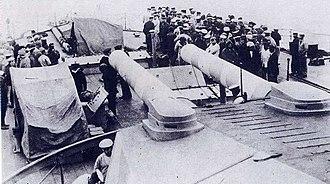 HMS Irresistible (1898) - Image: HMS Irresistible (1898) survivors on HMS Agamemnon (1906) quarterdeck March 1915