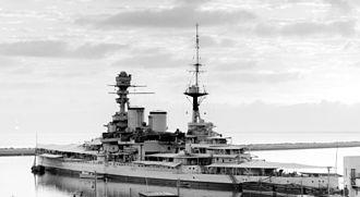 HMS Repulse (1916) - Repulse in Haifa harbor during the Arab Revolt, July 1938.