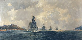 Bellerophon-class battleship - A painting by Frank Henry Mason of Superb leading the Allied fleet through the Dardanelles to Constantinople in 1918