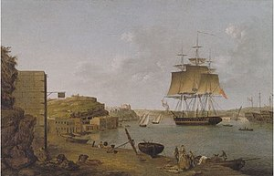 HMS Undaunted at Frejus in France waiting to convey Napoleon to Elba - Anton Schranz.jpg