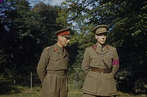 Belgium–United Kingdom relations - HM King George VI With the British Liberation Army in Belgium, October 1944