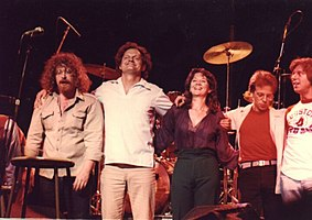 """Big"" John: Standing at far left in the photo (with Harry Chapin, next to him) during a curtain call in the 1970s"