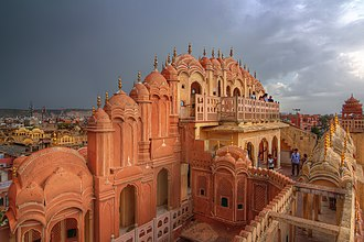 Tourism in Rajasthan - Image: Hawa Mahal on a stormy afternoon
