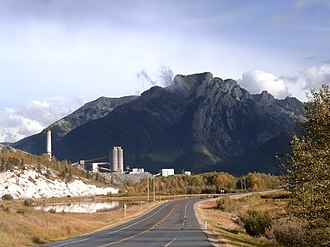 Exshaw - Heart Mountain and the Cement Plant at Exshaw. Community is east (left) of the plant.