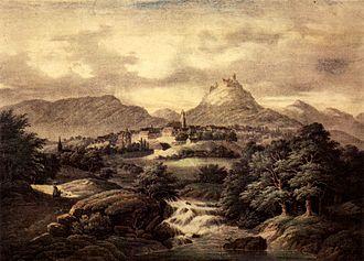 Hechingen - Hechingen and Hohenzollern Castle around 1860