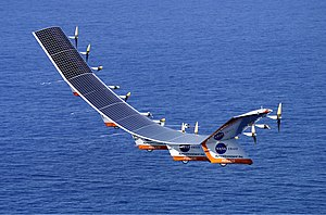 NASA's Helios high-altitude aircraft in flight.