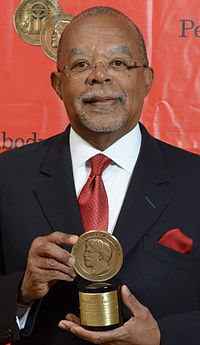 Gates with his Peabody Award for his documentary, The African Americans: Many Rivers to Cross
