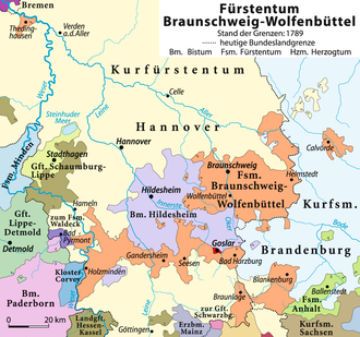 Bishopric of Hildesheim - Territory as of 1789 (in violet), valid since 1643