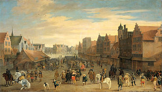 Maurice, Prince of Orange - Maurice disbands the waardgelders on the Neude (town square) in the City of Utrecht, July 31, 1618.  The pivotal event in the Remonstrant/Counter-Remonstrant tensions. By Joost Cornelisz Droochsloot