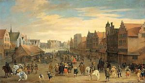 Het afdanken der waardgelders door prins Maurits op de Neude te Utrecht, 31 juli 1618 (Joost Cornelisz. Droochsloot, 1625)