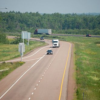 New Brunswick Route 2 - Route 2 outside Moncton, New Brunswick. Note the wide median.