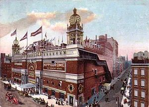 New York Hippodrome - The Hippodrome in 1907, on a hand-tinted postcard