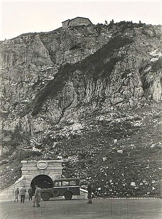 Kehlsteinhaus - 1945 photo of the entrance tunnel leading to the elevator going up to the Kehlsteinhaus, visible at top