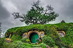 The house of Bilbo Baggins as filmed in New Zealand