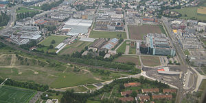 Stettbach railway station - Aerial view of the station, looking towards the east.
