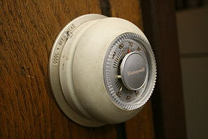 "Thermostat - Honeywell's iconic ""The Round"" model T87 thermostat, one of which is in the Smithsonian."