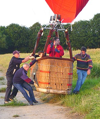 Mass versus weight - A hot air balloon when it has neutral buoyancy has no weight for the men to support but still retains great inertia due to its mass.