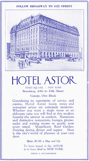 Hotel Astor (New York City) - 1922 ad for the Hotel Astor