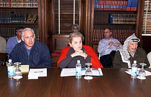 Wye River Memorandum - Israeli Prime Minister Benjamin Netanyahu (left), U.S. Secretary of State Madeleine Albright, and Yasser Arafat at the Wye River Memorandum, October 1998