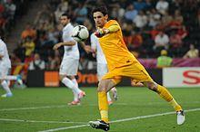 Lloris in azione durante il quarto di finale tra Spagna e Francia agli Europei 2012 in Polonia e Ucraina