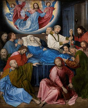 Death of the Virgin (van der Goes) - The Death of the Virgin, c 1472–80. 147.8cm x 122.5cm. Groeningemuseum, Bruges.