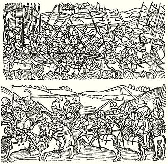 Black Army of Hungary - Top: Black Army knights fought with Ottoman cavalry. Bottom: training of knights. Engraving from the Thuróczy chronicle (1488)