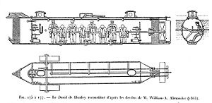 H. L. Hunley (submarine) - Inboard profile and plan drawings, after sketches by W.A. Alexander (1863)