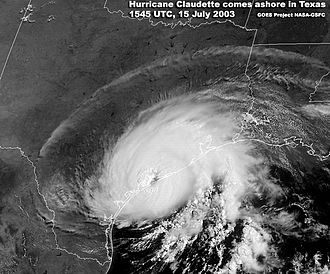 Hurricane Claudette (2003) - Hurricane Claudette making landfall at Texas on July 15