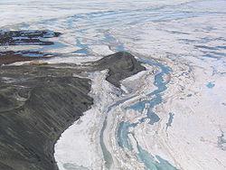Aerfoto de Hut Point, proksime de McMurdo Station, Antarkto