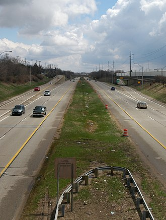 Interstate 496 - Looking east from the Martin Luther King, Jr. Boulevard overpass