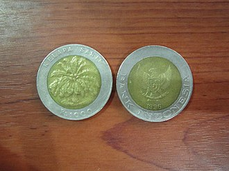 2 euro coin - The 1,000 Indonesian rupiah coin.