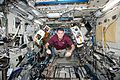 ISS-50 Shane Kimbrough poses with SPHERES-Halo in the Kibo lab.jpg