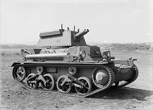 Horstmann suspension - The Light Tank Mk III introduced a slightly modified version with only one bell crank per bogie, causing the spring to lie somewhat angled as a result. This system was used on the Universal Carrier.