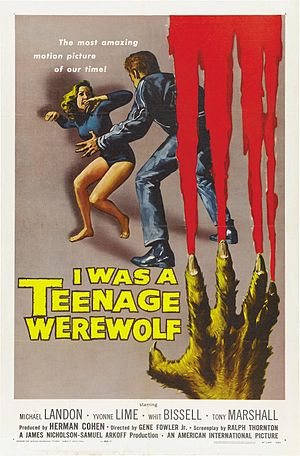 I Was a Teenage Werewolf - Theatrical release poster  by Reynold Brown