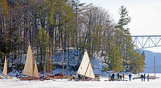 Ice boat - Ice yachters on Hudson River at Barrytown, NY