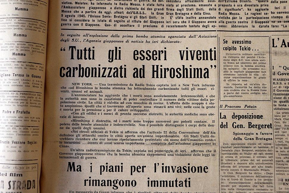 Il quotidiano eritreo, 9 agosto 1945, effetti dela bomba a hiroshima