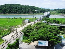 Rail line crossing the Imjin River