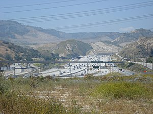 Interstate 5 - Interstate 5 in the Newhall Pass Interchange where I-5 intersects with Interstate 210 and State Route 14 near Santa Clarita