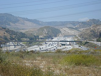 Interstate 5 in California - The 5 Freeway in the Newhall Pass Interchange, where it intersects with the 210 Freeway and the 14 Freeway near Santa Clarita