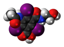 Space-filling model of the ioxitalamic acid molecule