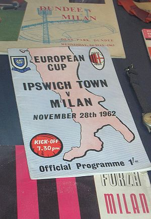 Ipswich Town F.C. - Ipswich – AC Milan 1962–63 European Cup programme, on display at the San Siro museum in 2005
