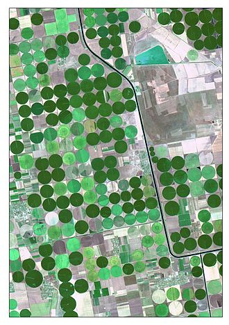 Acequia - The picture is satellite image of irrigated crops and Kahov irrigation canal. It is captured 7-Aug 2015 by Landsat 8 (OLI). The image is created as True Color Composite. This band combination is suitable for crop monitoring. For emphasizing characteristics, the image was pan-sharpened by panchromatic band. Nonlinear adaptive procedure of contrasting was applied too.