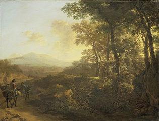 Italian landscape with mule driver