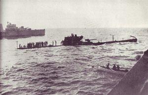 Italian submarine Uebi Scebeli sinking